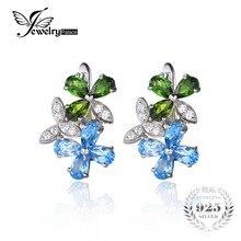 Jewelrypalace flor 3.1ct swis natural topacio azul cromo diópsido pendientes de clip de plata de ley 925 de joyería fina para las mujeres