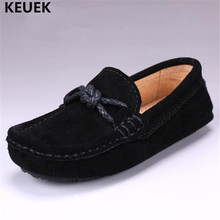 New Spring/Autumn Loafers Children Genuine Leather Shoes Boys Black Moccasins Ba