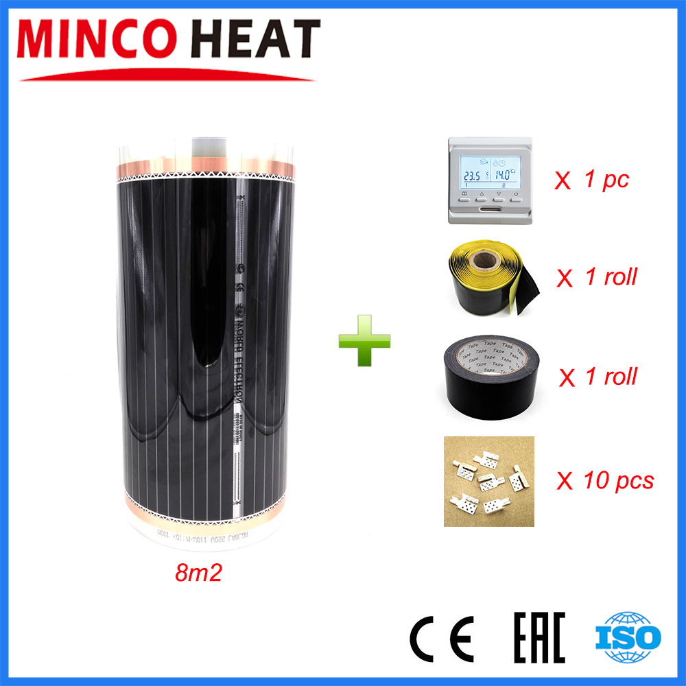 8 Square Meters PTC Carbon Floor Electric Heating Film 220V 110W Accessories Safe For Underfloor Heating
