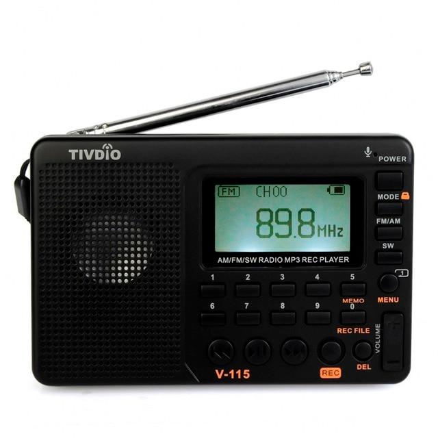 10 шт. Радио FM/AM/SW Мир Band Portable MP3 Player REC Диктофон с Таймером Сна Черный FM радио F9205A