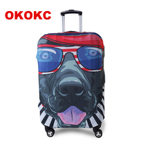 OKOKC Character Hip-hop Dog Elastic Luggage Protective Cover for 19''-32'' Trolley Suitcase, Travel Accessories недорого