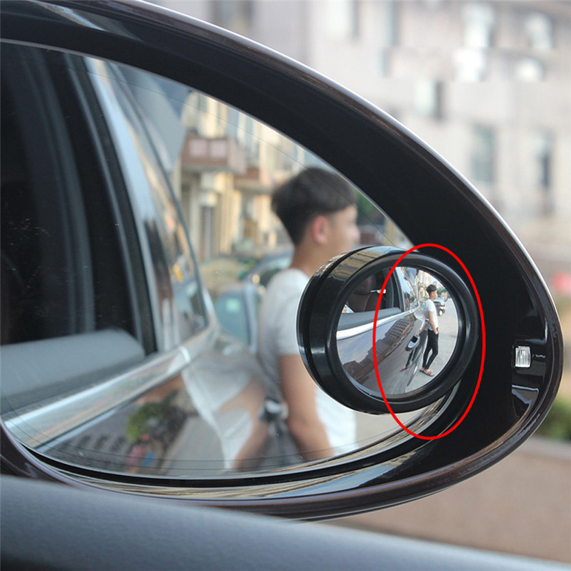 "2/"" Dia Round Convex Car Side Wide Angle Rear View Blind Spot Mirror Black"