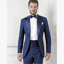 Peaked Lapel One Button 2 Pieces (Jacket+Pants) Blue Swallow mens suit Slim Fit men wedding suits Tailed Made terno masculino
