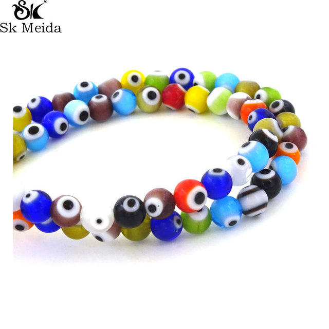 Multicolor Turkish Evil Eye Beads Lampwork Glass Beads 6mm Wholesale Small  Hole Spacer Beads Fit Jewelry DIY Flat Round 63Pcs 23450705823e