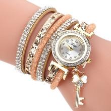 Women Bracelets Watches Ladies Rhinestone Wrap Around Leathe