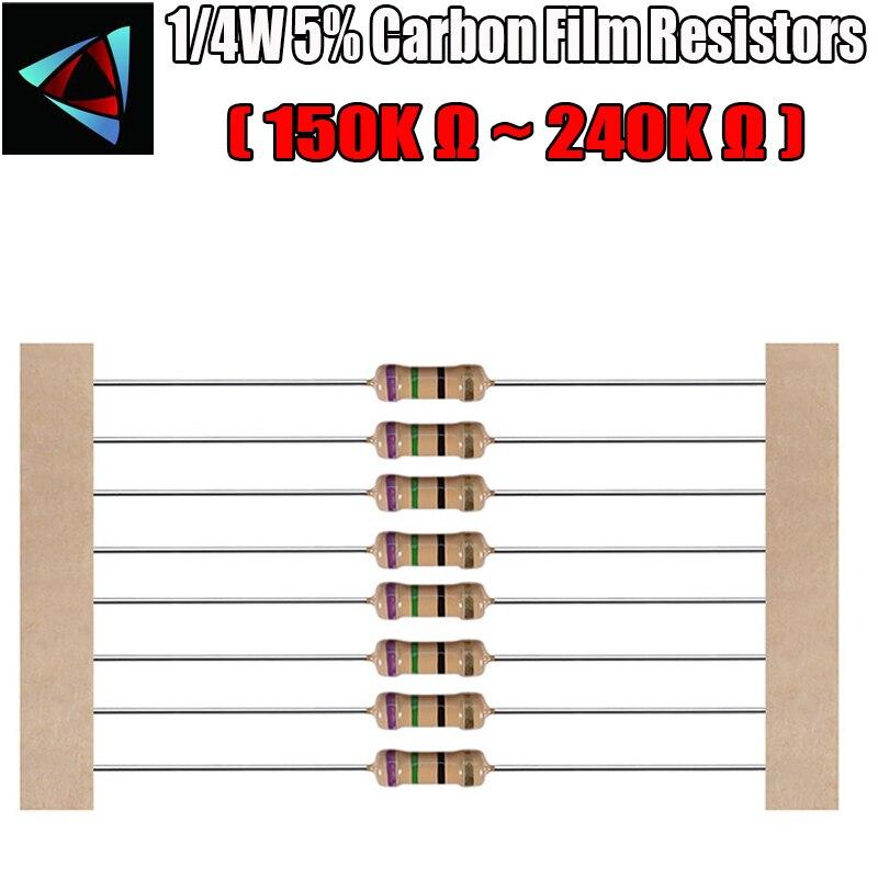 100pcs 1/4W 5% Carbon Film Resistor 150K 180K 200K 220K 240K Ohm