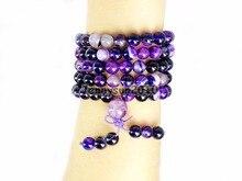 Natural Púrpura Raya Ag-ate 8mm Joya de Piedra Budista 108 Granos de Rezo de Usos Múltiples Pulsera Elástica collar de 2 Filamentos/Paquete