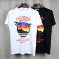 Высокое качество 2017 летний новый Европа tide бренда Мужской футболки гавайский кокосовых пальм печати мужчины/женщины мода хлопок топы тройники