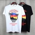 Alta calidad 2017 verano nueva Europa marca tide camiseta Unisex hawaiano coco de impresión de los hombres/de las mujeres de algodón de moda tops tees