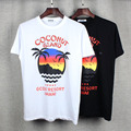 high quality 2017 summer new Europe tide brand Unisex t-shirt Hawaiian coconut trees print men / women fashion cotton tops tees