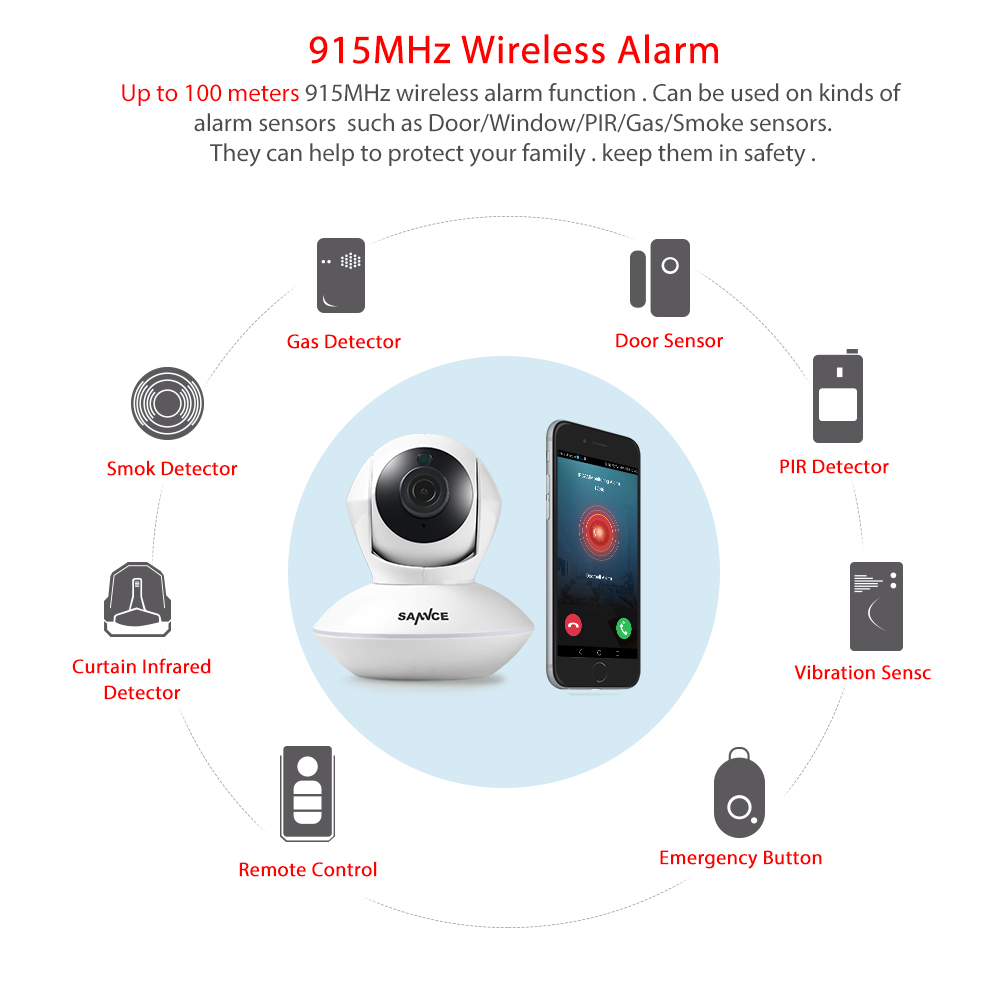 SANNCE 915MHz Wireless Security Alarm 1 Camera + 4 Door Sensors 720P Wi Fi Network Defender Baby Monitor Surveillance 100M MAX-in Surveillance Cameras from ...  sc 1 st  AliExpress.com & SANNCE 915MHz Wireless Security Alarm 1 Camera + 4 Door Sensors 720P ...