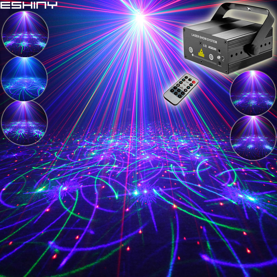 EHINY MINI RGB 2 Lens Laser 64 Patterns Projector Club Family Party Bar DJ Disco Holiday Xmas Dance Lighting Stage Lights N8T159