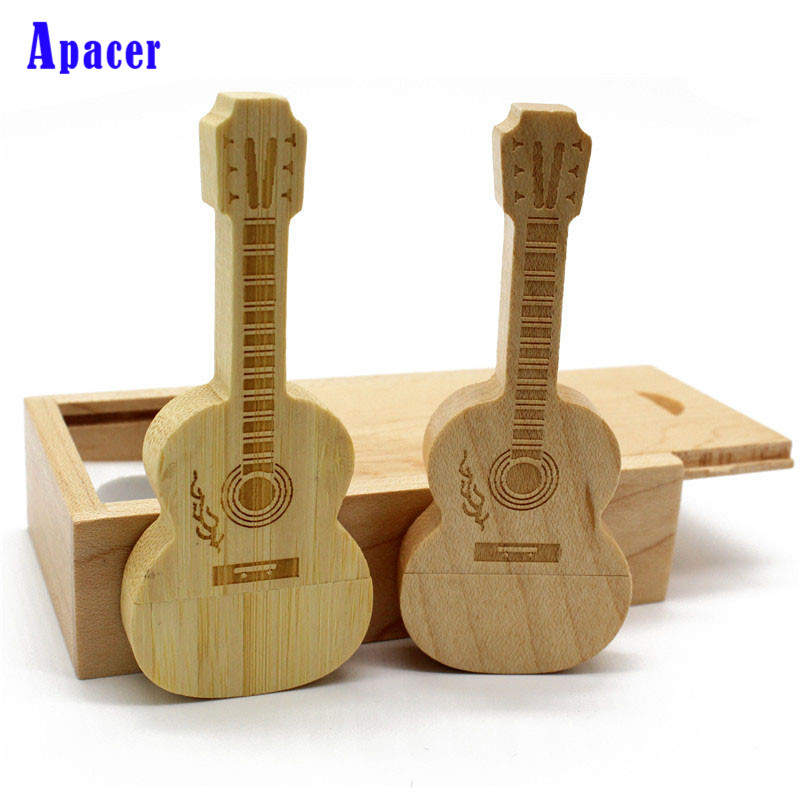 цена Apacer wooden guitar+Box pen drive 4GB 8GB 16GB 32GB wooden guitars model usb flash drive memory Stick