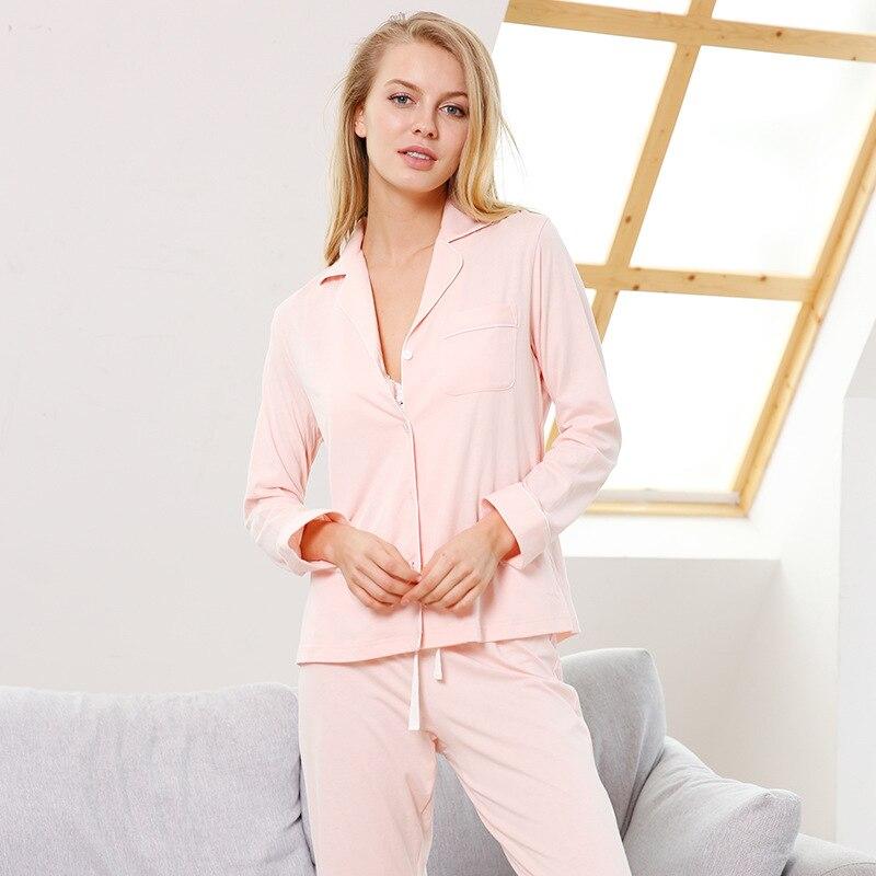 Hot sale simple 100% cotton women   pajamas     sets   sexy Solid Color pink Long sleeve women pijamas 2019 New quality sleepwear women
