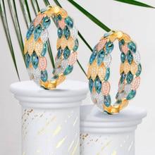 GODKI Luxury นกยูง Abalone Shell Statement Big Hoop ต่างหูสำหรับผู้หญิงงานแต่งงาน Cubic Zircon ดูไบเจ้าสาววงกลม Hoop ต่างหู