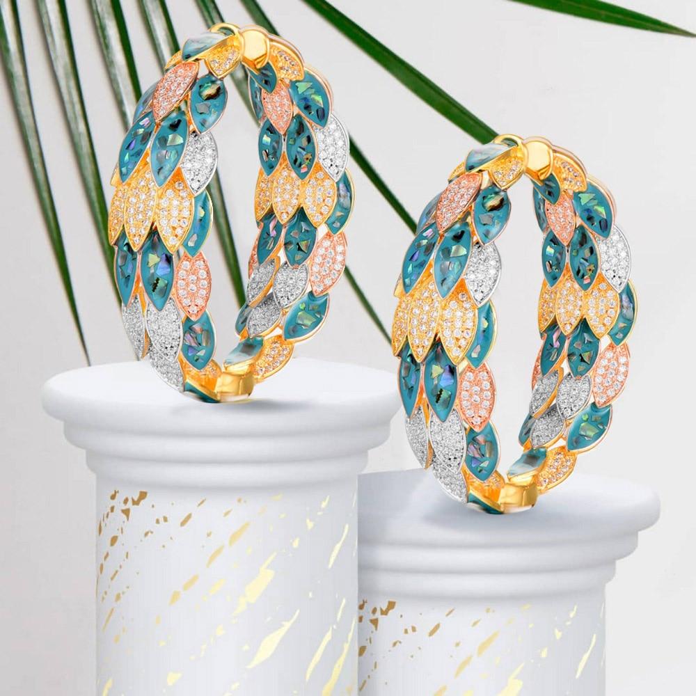 GODKI Luxury Peacock Abalone Shell Statement Big Hoop Earrings  For Women Wedding Cubic Zircon DUBAI Bridal Circle Hoop EarringHoop  Earrings