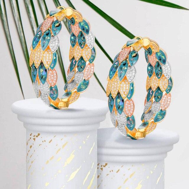 Godki luxo pavão abalone escudo declaração grande argola brincos para o casamento feminino zircon cúbico dubai nupcial círculo hoop brinco