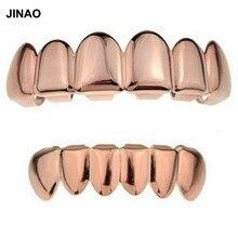 Jinao золотой цвет покрытием хип-хоп зубы grillz верхней и нижней гриль набор хип-хоп bling золото грили комплект