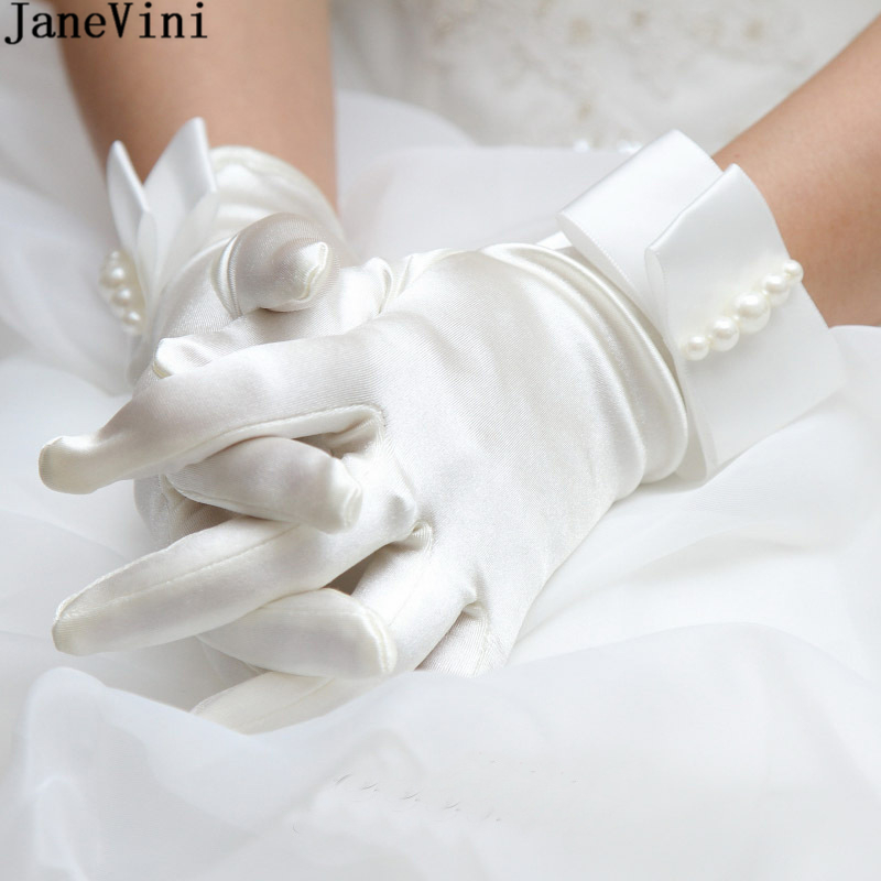 JaneVini Fashion White Gloves Elegant Bow Pearls Satin Full Finger Wrist Length Gloves Women Wedding Party Evening Accessories