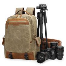 Vintage Batik Canvas+Leather Mens Bag Outdoor Travel Backpack Photography Padded DSLR Camera Case for Camera/Lens/Tripod/Laptop