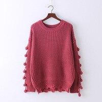 six senses women's 2017 autumn winter O neck long sleeve hole pullover knitting fashion sweet lady's sweaters HM0015