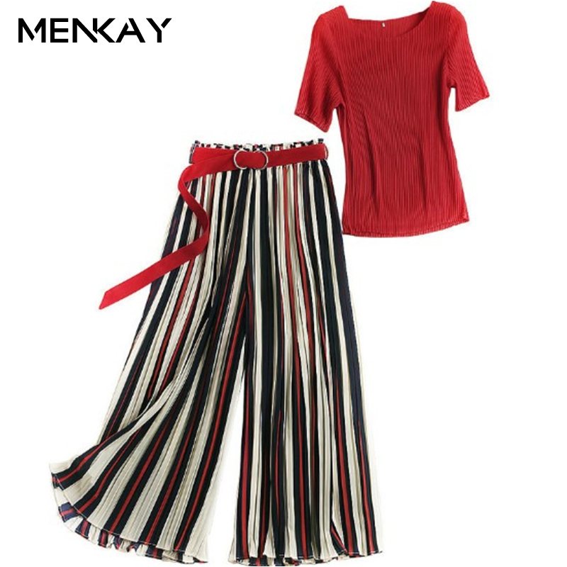 [MENKAY] New Arrival Women Casual Pants Loose Two Piece Set Fashion High Waist Striped Pants+O Neck Solid Loose Pullover fashion 2018 mens stripe shirts and pants korea style two piece set loose v neck casual erkek giyim slim fit social club outfits