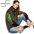 Nova Moda Graffiti Impressão Ferramental Exército Verde Casaco Parker Soltar Womesn Básica Jaqueta de Zíper Jaqueta Mulher Casaco de Outono Feminino