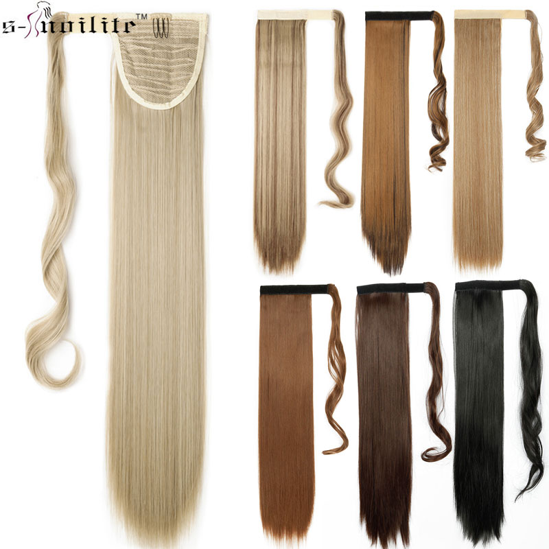 SNOILITE 23inch Long Straight Real Natural Ponytail Clip In Pony Tail Hair Extensions Wrap Around On Synthetic Hair Piece