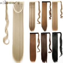 SNOILITE 23inch Long straight Real Natural Ponytail Clip in Pony tail Hair Extensions Wrap Around on Synthetic Hair Piece(China)