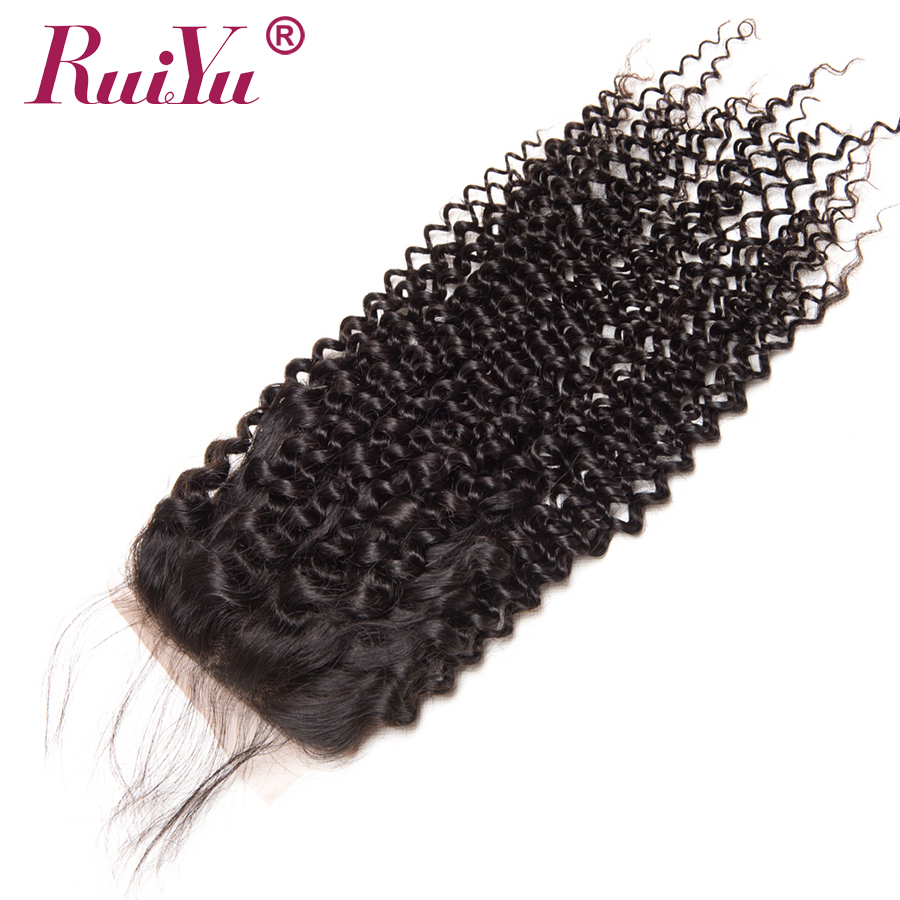 RUIYU Hair Kinky Culry Peruvian Hair 3 Bundles With Closure 100% Human Hair Extensions Bundles With Lace Closure 4*4 Non Remy