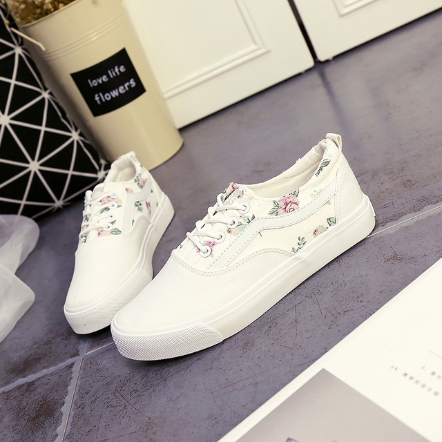 2016 NEW Spring Autumn women's casual shoe canvas shoe breathable flat with lace-up printed #6-17