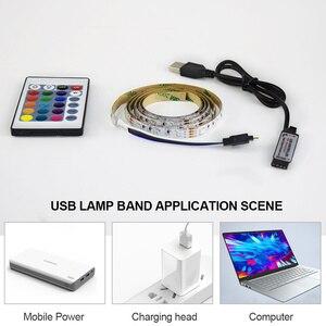 Image 2 - LED תחת קבינט אור לבן/חם לבן RGB USB LED רצועת מטבח ארון לילה אור מרחוק בית מלתחת LED דיודה קלטת luz A1
