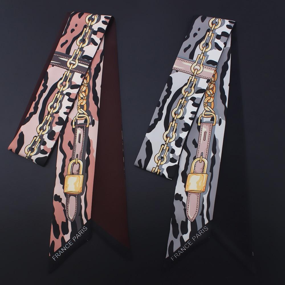 2018 Scarf For Women Leopard Chain Printing Skinny Bag Scarf Brand Silk Foulard Women Tie Fashion Belt Head Scarves Hair Band
