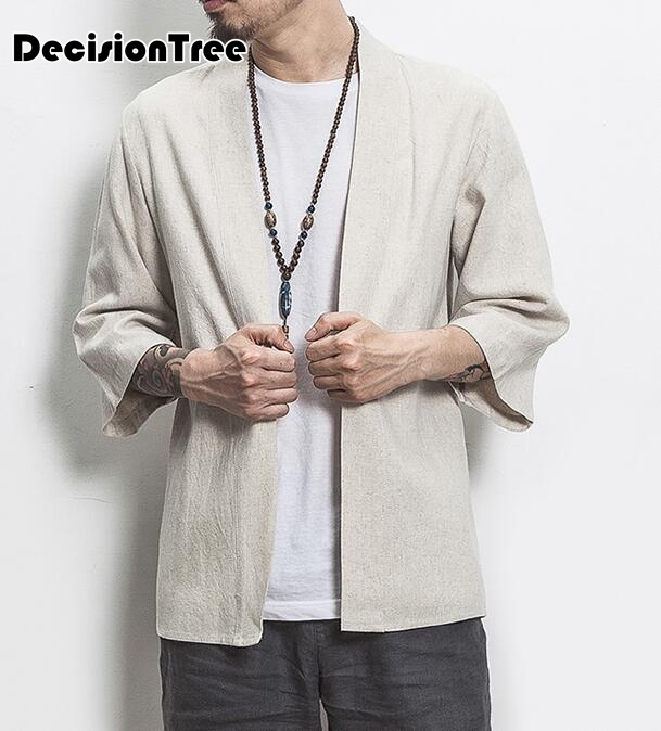 2019 Men Cotton Linen China Style Kongfu Coat Male Loose Kimono Cardigan Overcoat Open Stitch Coat Mens Windbreaker