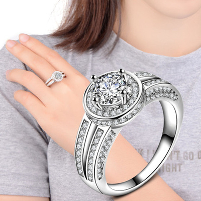 Size Silver Color Ring with Micro Paved AAA CZ High Polished Watch Shape Ring Fo
