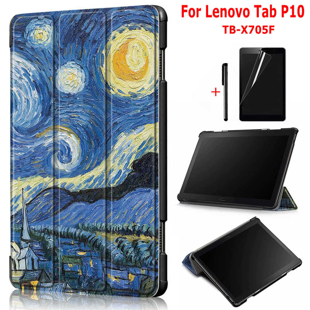 Magnetic Colorful Printed Smart PU Leather Case for <font><b>Lenovo</b></font> Tab P10 TB-<font><b>X705F</b></font> 10.1