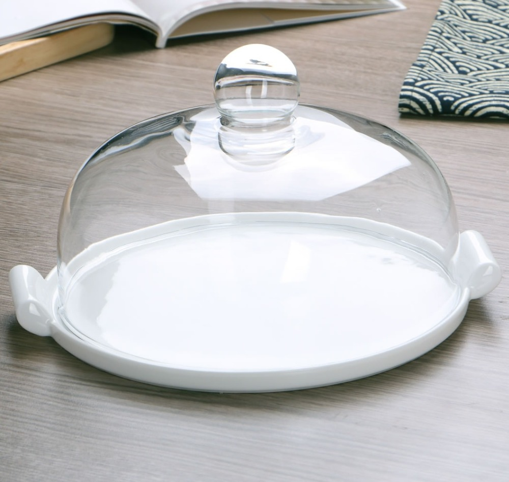 Ceramic Dinner Plate with Glass Cover Decorative Porcelain Serving Dish with Grip Dinnerware and Kitchenware for Cake and Butter serveware