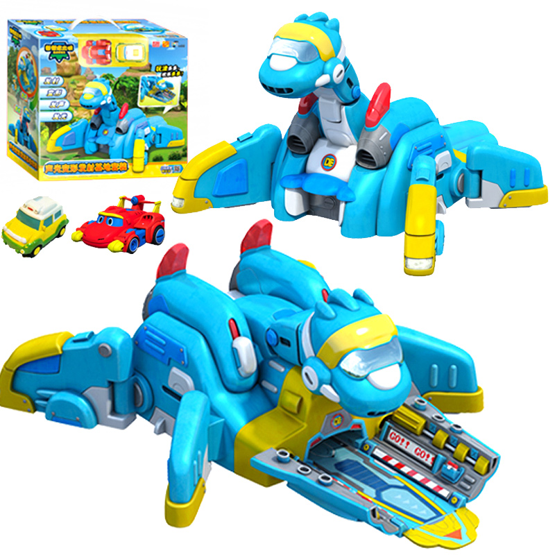 2018 Newest Gogo Dino ABS Launching Base with Car Action Figures REX/PING/TOMO Transformation Dinosaur toys for Kids