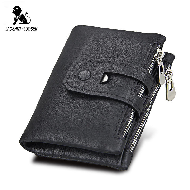 LAOSHIZI LUOSEN Wallet Male Genuine Leather Purse Women Natural Skin Short Wallet Female Small Wallet Men rfid Zipper billetera