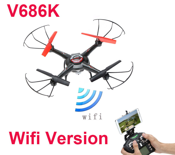 JJRC V686K (WIFI version ) 6-Axis Gyro 2.4G 4CH FPV Quadcopter with Camera One-press Return and CF Mode + original box original jjrc h26 2 4ghz 4ch 6 axis gyro drone without camera rc quadrocopter with one key return cf mode 360 eversion