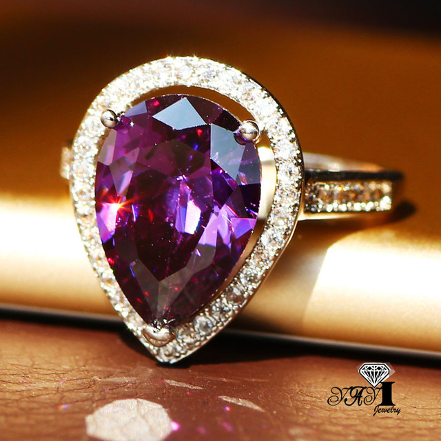 YaYI Fashion Women Jewelry Ring 4CT Purple Zircon Silver Color Engagement Rings wedding Rings Party Ring Gifts