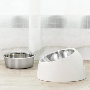 Image 2 - Youpin Edelstahl Haustier Hund Bowl Puppy Katzen Essen Trinken Wasser Gekippt Feeder Mit BaseSupplies Nicht slip Fütterung Gerichte