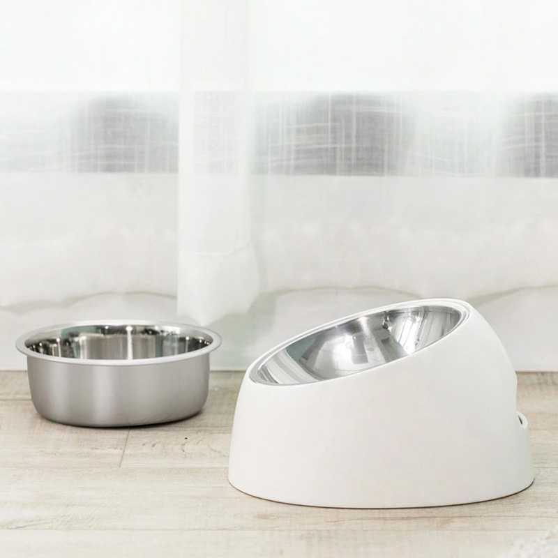 Image 2 - Youpin Stainless Steel Pet Dog Bowl Puppy Cats Food Drink Water Tilted Feeder With BaseSupplies Non slip Feeding DishesSmart Remote Control   -