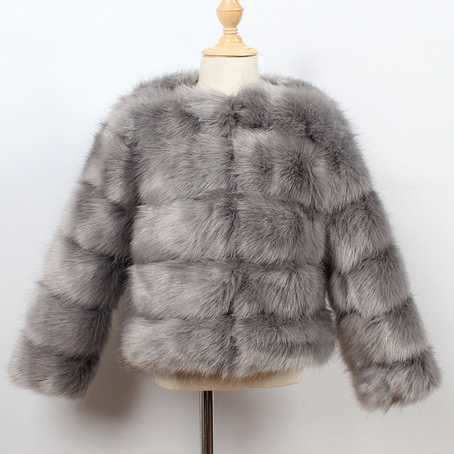 Dark Grey Kids fur coat rex rabbit 5c64fecb8a047