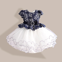 New Summer Diamond Silk Bow Girl Party Dress Wedding Birthday Girls Dresses Tutu Style Princess Clothes for children 3-8T
