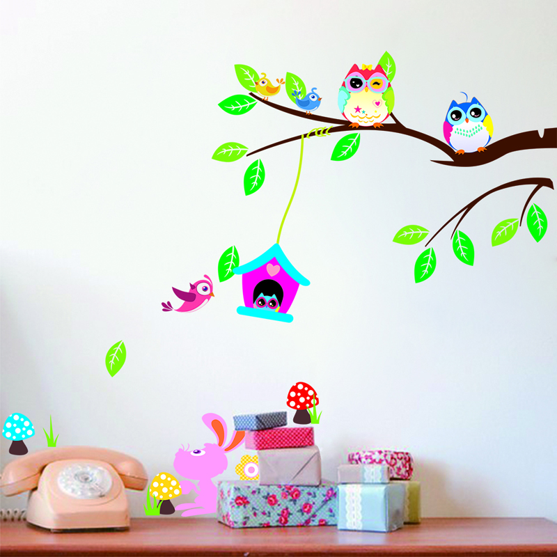 Owl Bird Wall Sticker Home Decor Baby Room Stickers Tree Wall Murals Bedrooms Nursery Window Decoration