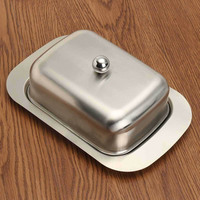 Stainless Steel Butter Dish Box Fruits Dessert Cheese Storage Tray with Lid DC120