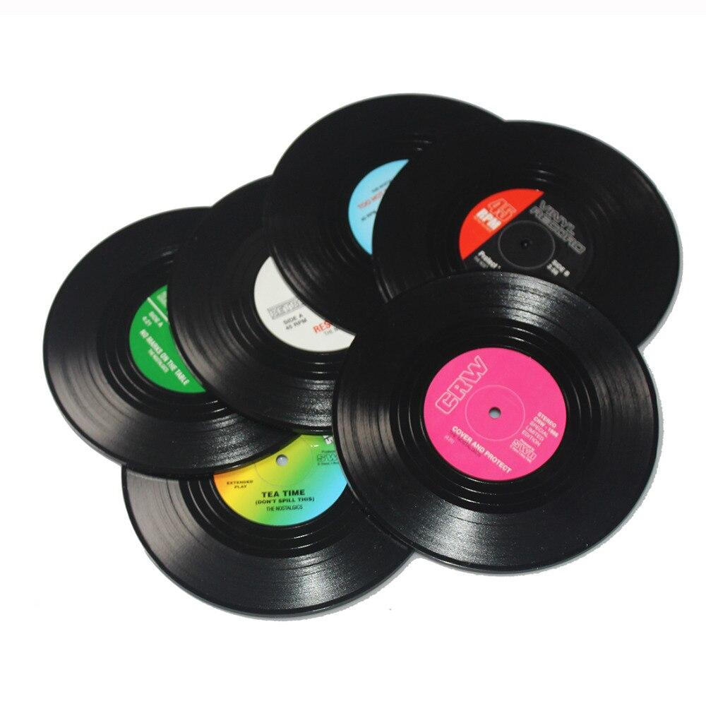 <font><b>6</b></font> Pcs/ <font><b>set</b></font> Home Table <font><b>Cup</b></font> Mat Creative Decor Coffee <font><b>Drink</b></font> Placemat for table Spinning Retro Vinyl CD Record <font><b>Drinks</b></font> <font><b>Coasters</b></font> Hot