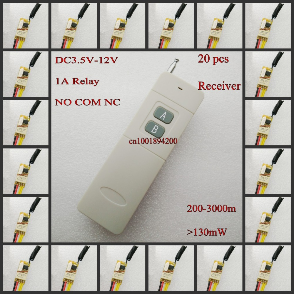 Micro Relay Remote Switch 3.7V 4.2V 4.5V 5V 6V 7.4V 9V 12V Small Wireless Switch 1A Relay NO COM NC Mini RF Relay Switching MTL dc 3 5v 12v mini relay 2 receiver