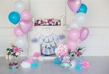 Laeacco Balloons Fireplace Flower 1st Birthday Baby Photography Backgrounds Customized Photographic Backdrops For Photo Studio